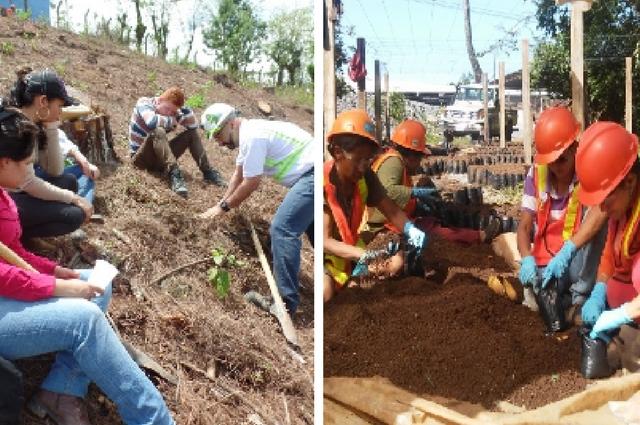 Foto Izquierda: Estudiantes de UCENM sitio plantación. Foto derecha: Contratistas durante llenado bolsas para vivero forestal.